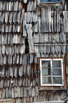 Wood, Old, Wood Shingles, Farmhouse, Window, Broken