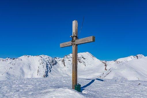 Summit, Winter, Snow, Cross, Blue, White, Wintry