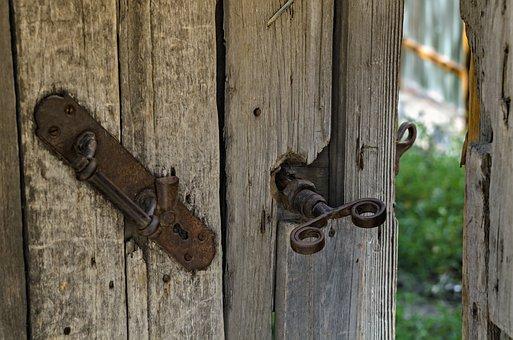 Gates, Chains, Old, Padlock, Lock, Wood