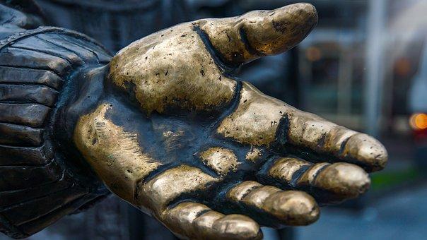Handshake, Golden, Bronze, Sculpture, Anatomy, Monument