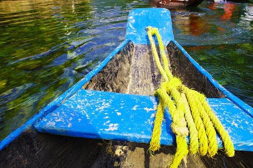 Boat, India, Rope, Landscape, Blue