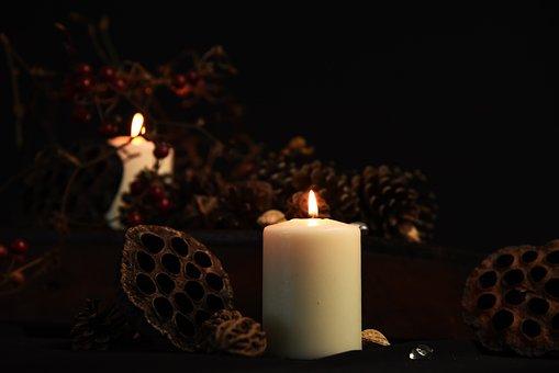 Candle, Candlestick, Fruit, Window, Desolation