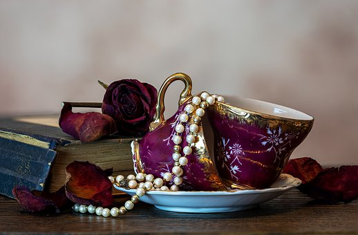 T, Pearl Necklace, Old Cups, Old Books, Coffee Mugs