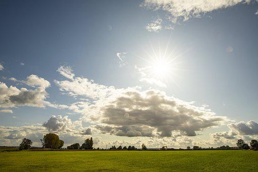 Landscape, Flat, Clouds, Sky, Sun, Excavators, Trees