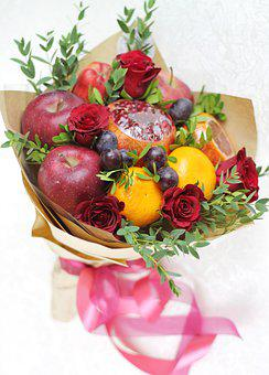 Floristry, Food, Bouquet, Flowers, Fruit