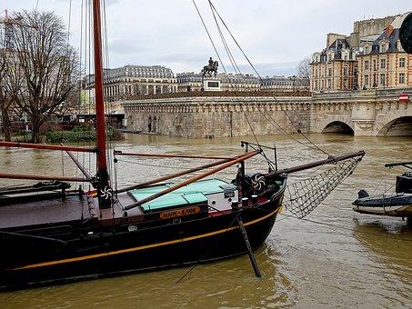 Sailboat, Boats, River, The Seine, Paris, France, Ship