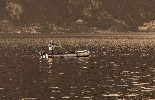 Fisherman On Lake Garda, Fishing, Garda