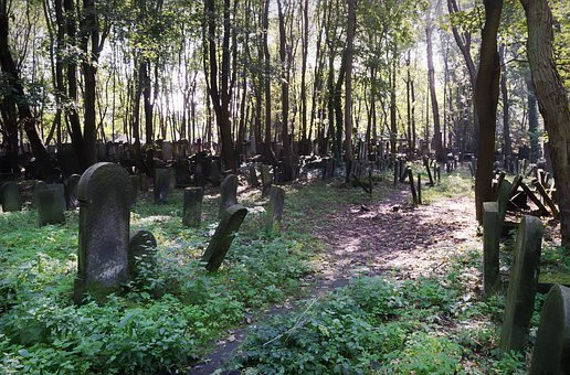 Landscape, Gloomy, Cemetery, The Jewish, Old, Graves