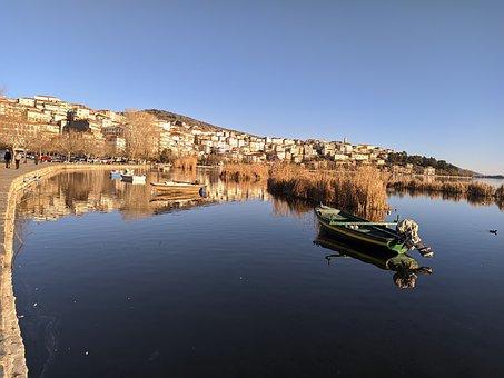 Kastoria, Landscape, Noon, Boat, Sun, Lake