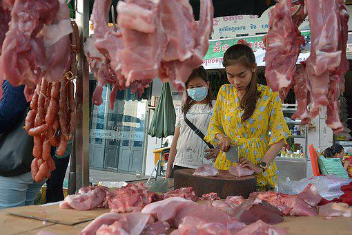 Phnom Penh, Khmer, Cambodia, Seller, Meat, Woman, Poor