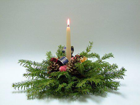 Candle, Flame, Pine, Christmas, The Birth Of Jesus
