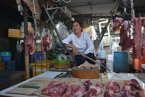 Phnom Penh, Khmer, Cambodia, Seller, Meat, Woman, Poor