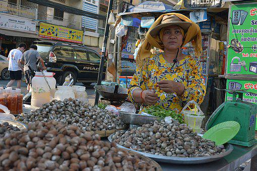 Phnom Penh, Cambodia, Seller, Woman, Poor, Stall, Sell