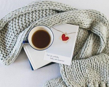 Valentine, Heart, Book, Coffee, Romantic, Winter, Red
