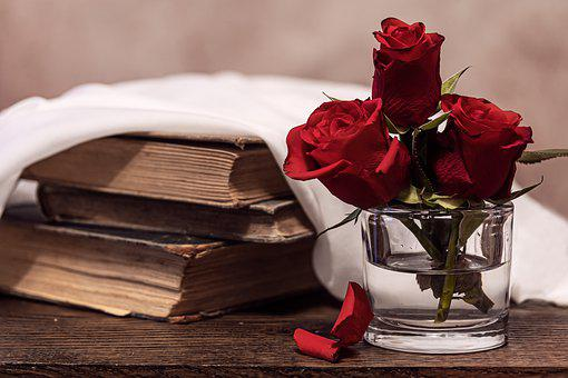 Roses, Red, Old Books, Wedding, Love