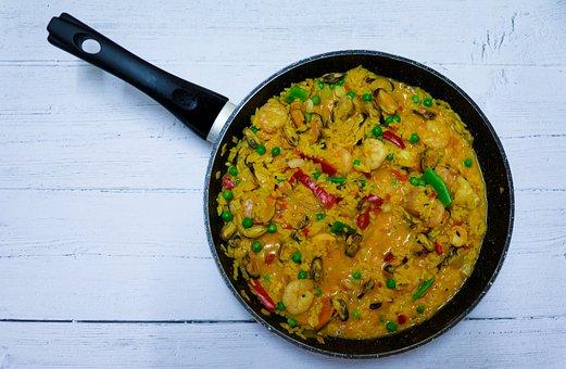 Paella, Rice, Sea, Seafood, Saffron, Shrimp, Mussels