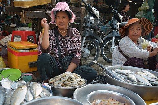 Phnom Penh, Cambodia, Seller, Woman, Poor, Stall, Sell