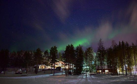 Aurora, Night, Sky, Nature, Finland, Lapland, Forest
