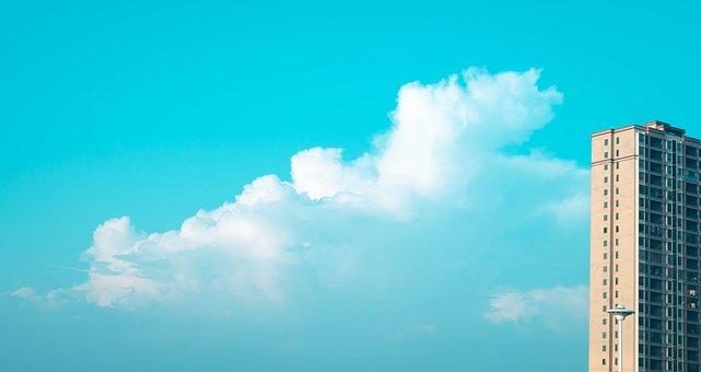 White Cloud, Tall Buildings, Sky, Soaring
