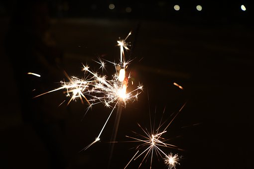 Sparklers, Radio, New Year's Eve, Happy, Party