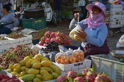 Phnom Penh, Cambodia, Seller, Fruit, Woman, Poor, Stall