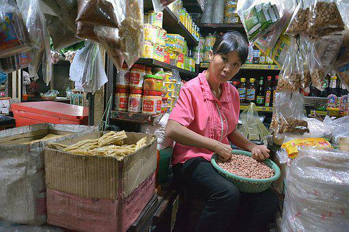 Phnom Penh, Cambodia, Seller, Meat, Woman, Poor, Stall