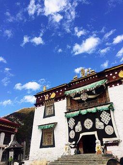 Aden, Blue Sky, Views, The Scenery, Tibet, Temple