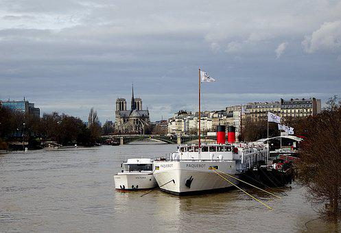 Barges, Boats, River, The Seine, Paris, France