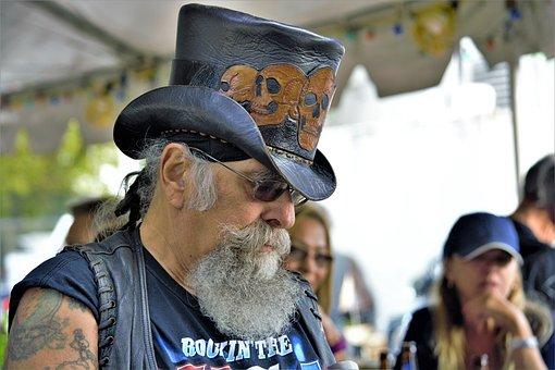 Biker, Bearded, Leather, Top, Hat, Chopper, Motorcycle