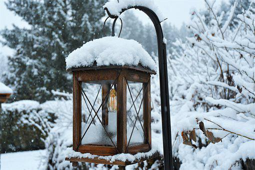 Snow, Outdoor Lamp, Winter, Cold, Snowflake, Ice