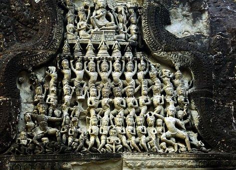 Cambodia, Angkor, Angkor Wat, Temple, Bas-relief, Ruin