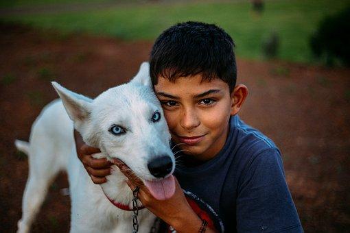 Boy, Dog, Girl, Child, Beautiful, Animal, Happy
