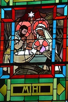 Stained Glass, Christmas, Birth, Baby, Jesus, Parents