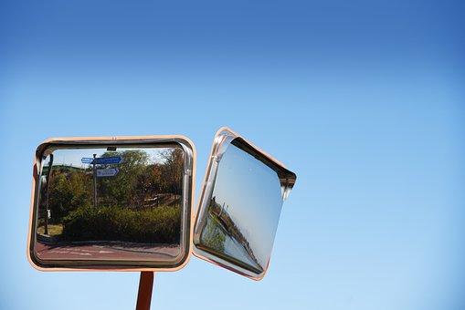 Mirror, Sky, Blue, Road Reflector, Reflector