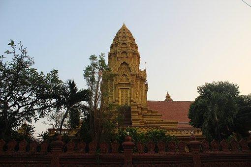 Phnom Penh, Cambodia, Temple, Historic, Building