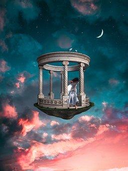 Girl, Sky, Clouds, Surrealism, Moon, Crescent, Birds