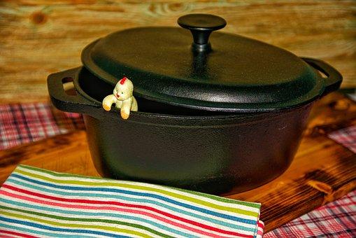 Roasting Pan, Dutch Oven, Pot, Lid, Chicks, Cast Iron