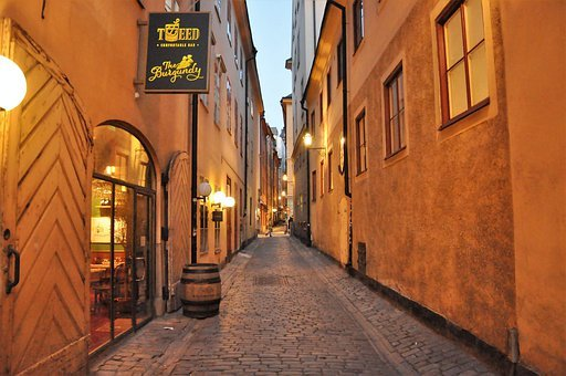 Restaurant, Alley, The Old Town, Tourism, Evening