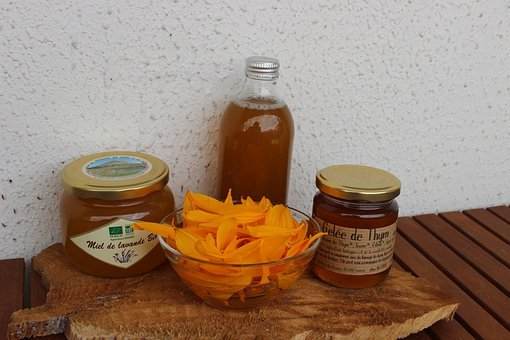 Natural Products, Honey, Jar, Flowers, Bowl, Food