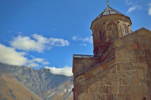 Georgia, Gergeti, Temple, Mountains, Church
