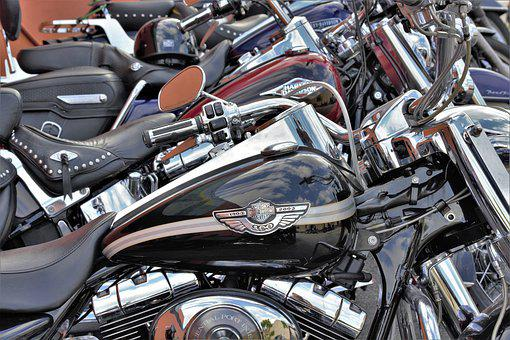 Motorcycles, Line, Row, Parked, Harley, Choppers, Hogs
