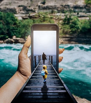 Photoshop, Manipulation, Phone, Boy, River, Iphone