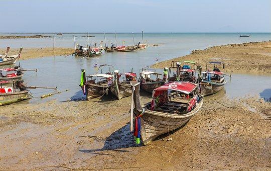 Thailand, Port, Long Tile Boat, Sand