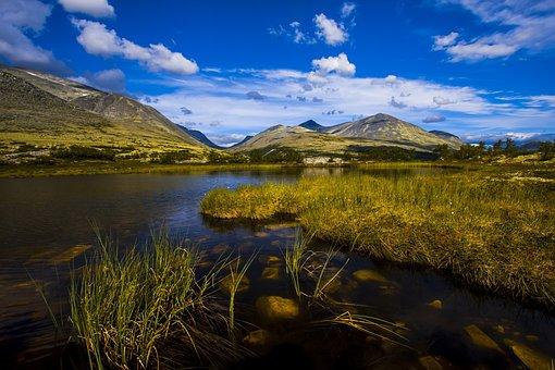 Landscape, Mountain, Water, Marsh, Sky, Clouds