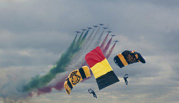 Italiën, Belgiën, Plane, Parachute, Army, Para, Schow