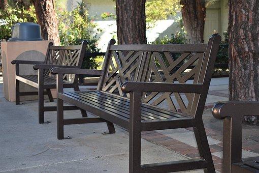 Bench, Park, Iron, Garden, Relax, Metal, Gray Relax