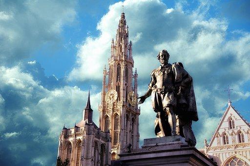 Church, Rubens, Antwerp, Architecture, Statue