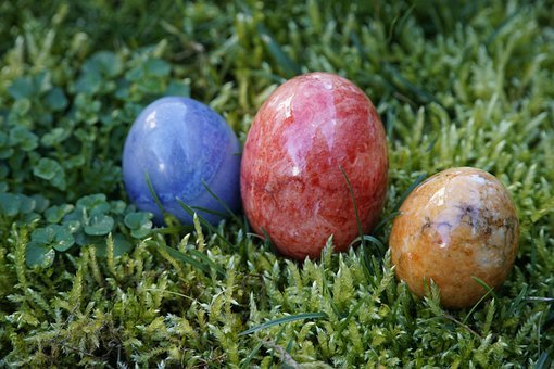 Easter, Eggs, Stone, Minerals, Moss, Colored