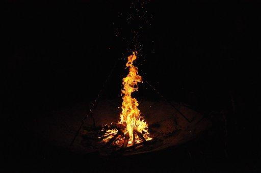Fire, Bonfire, Night, Flame, Heat, Wood, Fireplace, Hot
