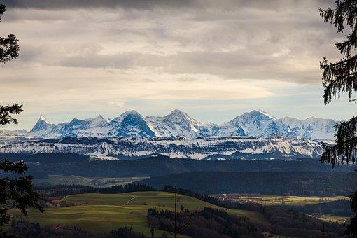 Alpine, Eiger, Monk, Virgin, Mountains
